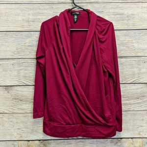 RALPH LAUREN Mock-Wrap Red Burgandy Top